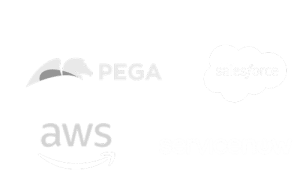 Product logos for Pega, AWS, Service Now, and Salesforce